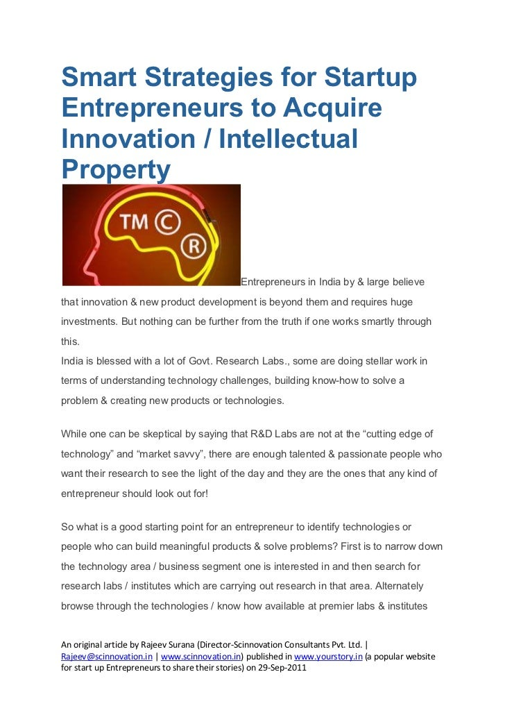 IP / Innovation acquisition for smart entrepreneurs