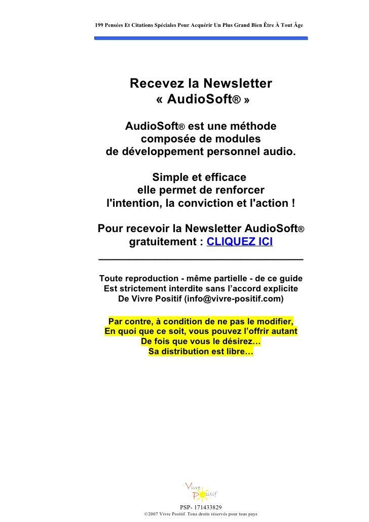 199 Pensées Et Citations Spéciales Pour Acquérir Un Plus Grand Bien Être À Tout Âge                  Recevez la Newsletter...
