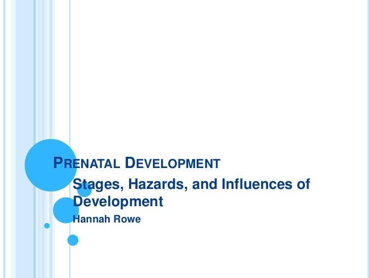 PRENATAL DEVELOPMENT  Stages, Hazards, and Influences of  Development  Hannah Rowe