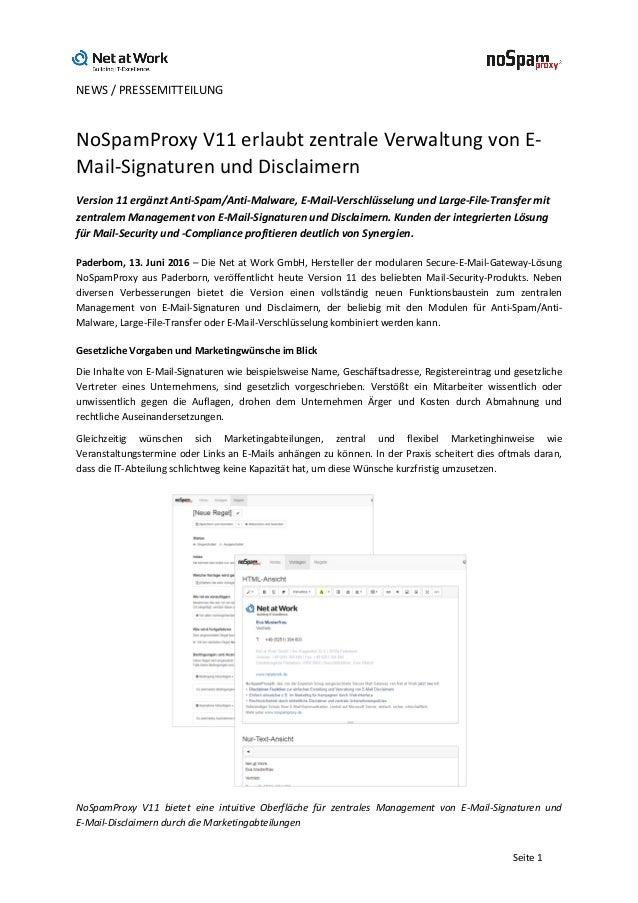 NEWS/PRESSEMITTEILUNG   Seite1 NoSpamProxyV11erlaubtzentraleVerwaltungvonE- Mail-SignaturenundDisclaimern ...