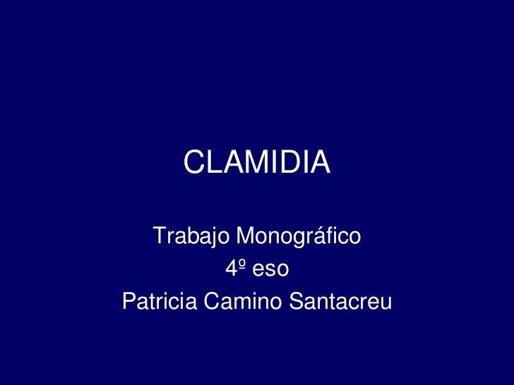 CLAMIDIA<br />Trabajo Monográfico<br />4º eso <br />Patricia Camino Santacreu<br />