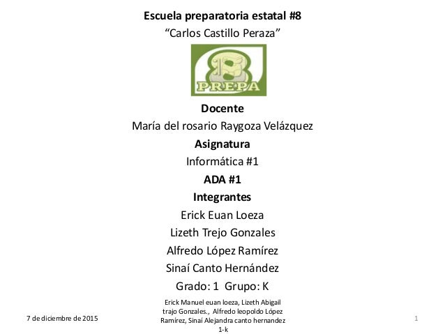 """Escuela preparatoria estatal #8 """"Carlos Castillo Peraza"""" Docente María del rosario Raygoza Velázquez Asignatura Informátic..."""