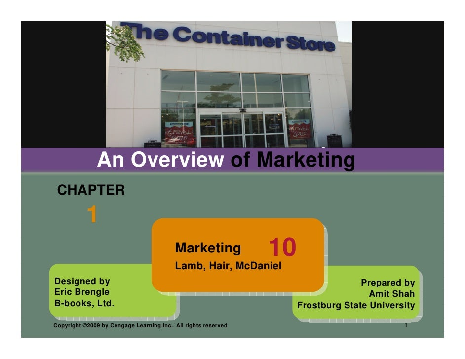 An Overview of Marketing  CHAPTER            1                                          Marketing             10          ...