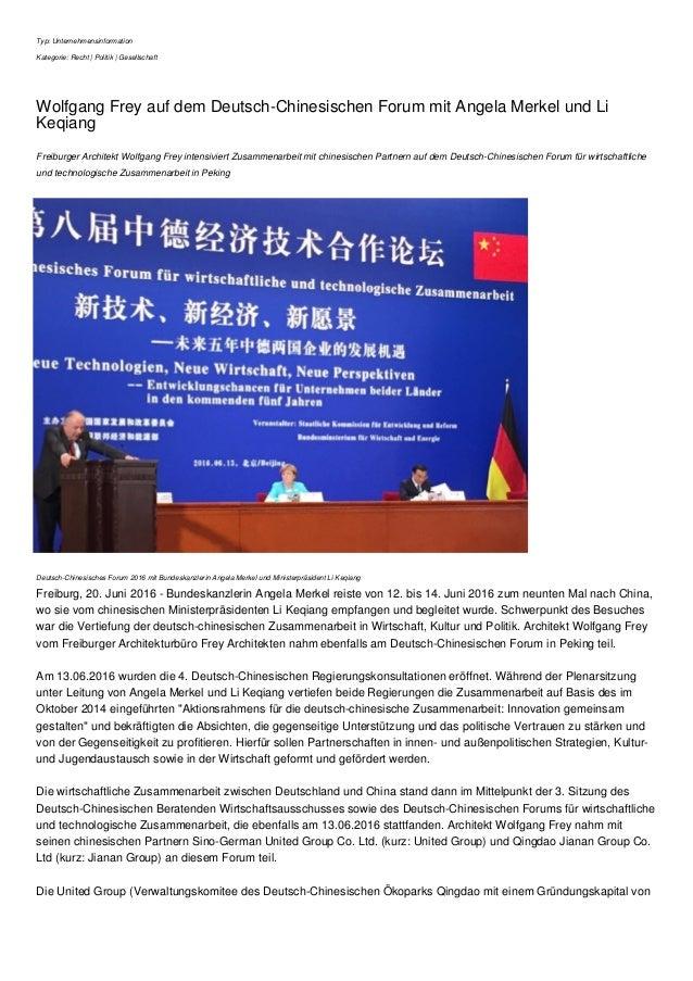 Typ: Unternehmensinformation Kategorie: Recht | Politik | Gesellschaft Wolfgang Frey auf dem Deutsch-Chinesischen Forum mi...