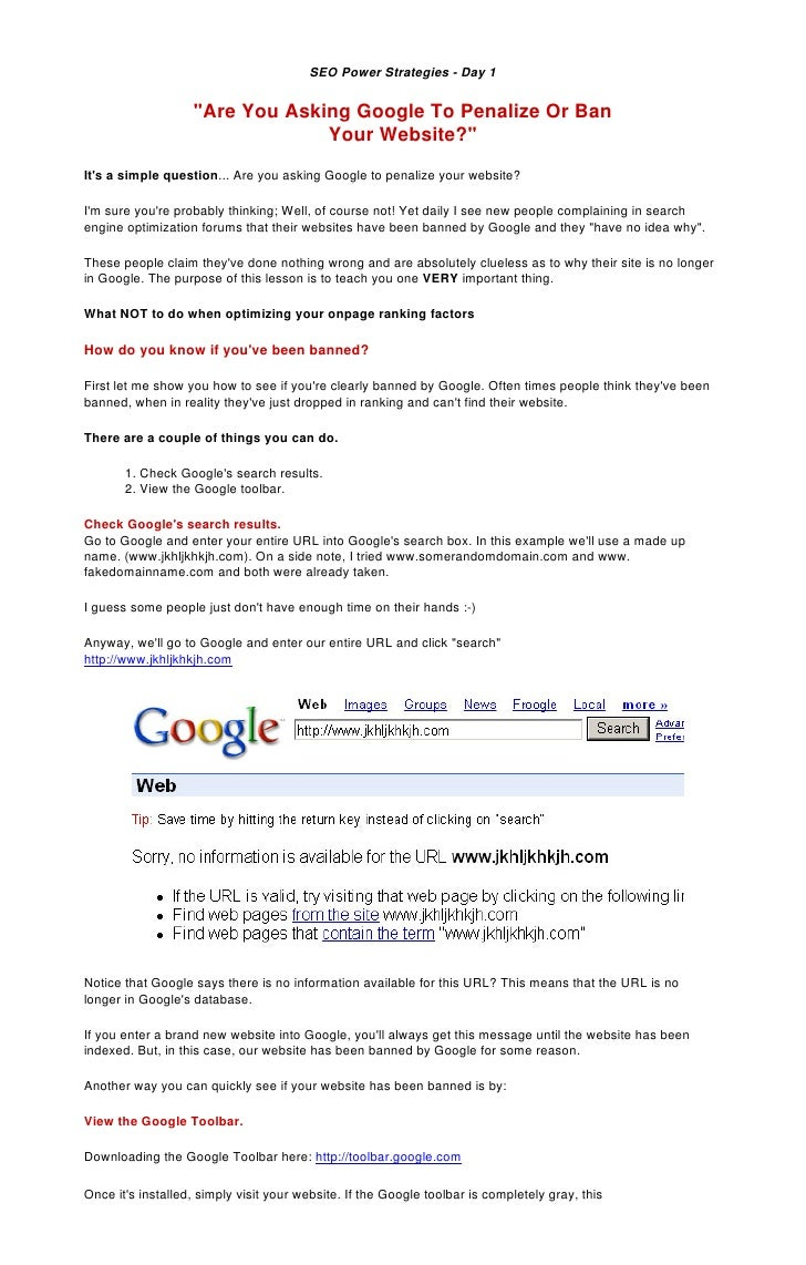 "SEO Power Strategies - Day 1                      ""Are You Asking Google To Penalize Or Ban                               ..."