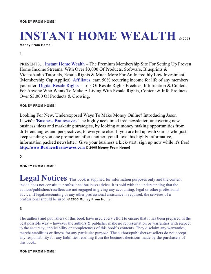 MONEY FROM HOME!    INSTANT HOME WEALTH Money From Home!                                                                  ...