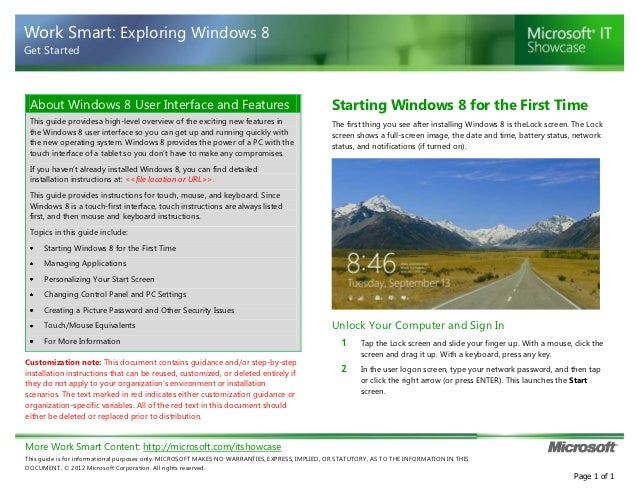 Work Smart: Exploring Windows 8Get Started About Windows 8 User Interface and Features                                    ...