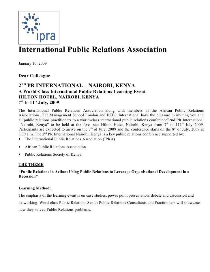 International Public Relations Association January 10, 2009   Dear Colleague  2ND PR INTERNATIONAL – NAIROBI, KENYA A Worl...
