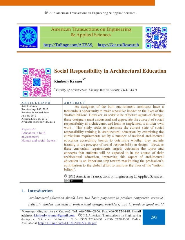 Social Responsibility in Architectural Education