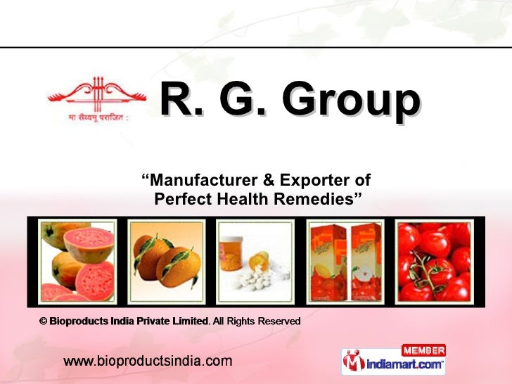 """R. G. Group """" Manufacturer & Exporter of  Perfect Health Remedies"""""""