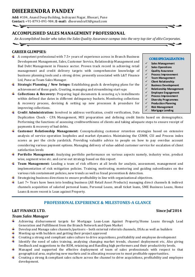 resume with experience in sales