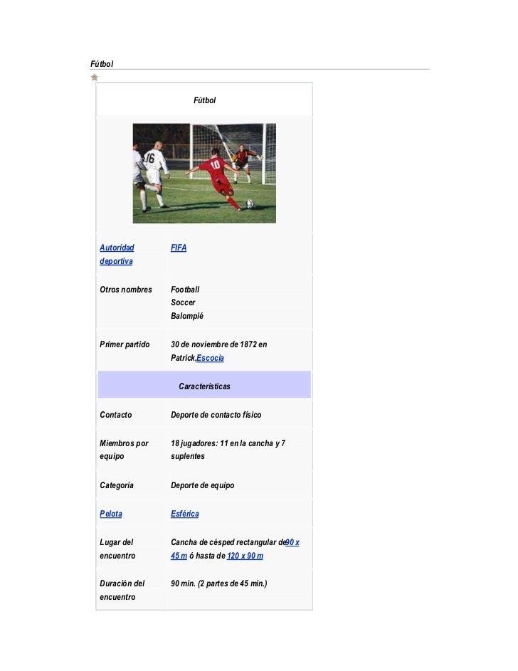 Fútbol                          Fútbol  Autoridad        FIFA  deportiva  Otros nombres    Football                   Socc...