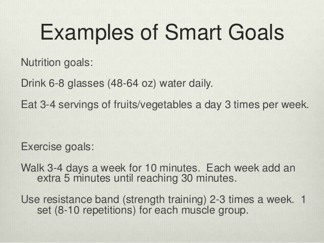 smart goals examples for weight loss
