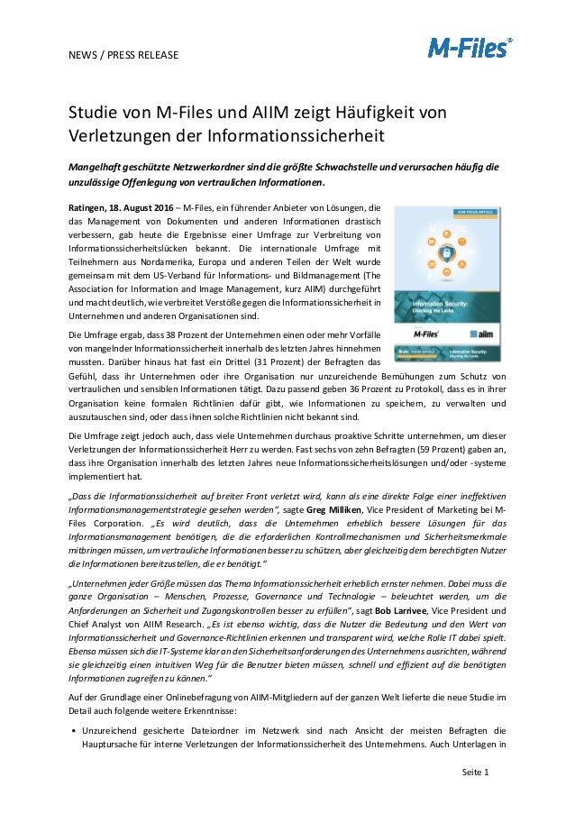 NEWS/PRESSRELEASE   Seite1  StudievonM-FilesundAIIMzeigtHäufigkeitvon VerletzungenderInformationssicher...