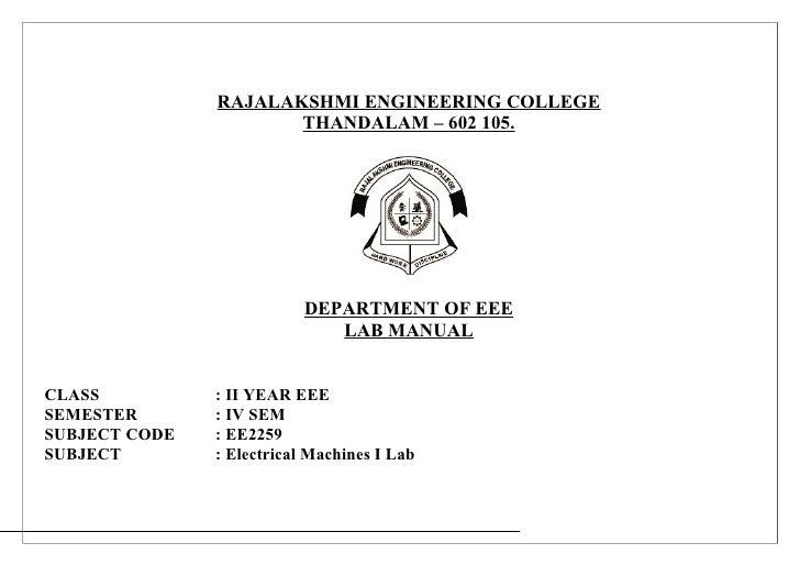 RAJALAKSHMI ENGINEERING COLLEGE                      THANDALAM – 602 105.                           DEPARTMENT OF EEE     ...