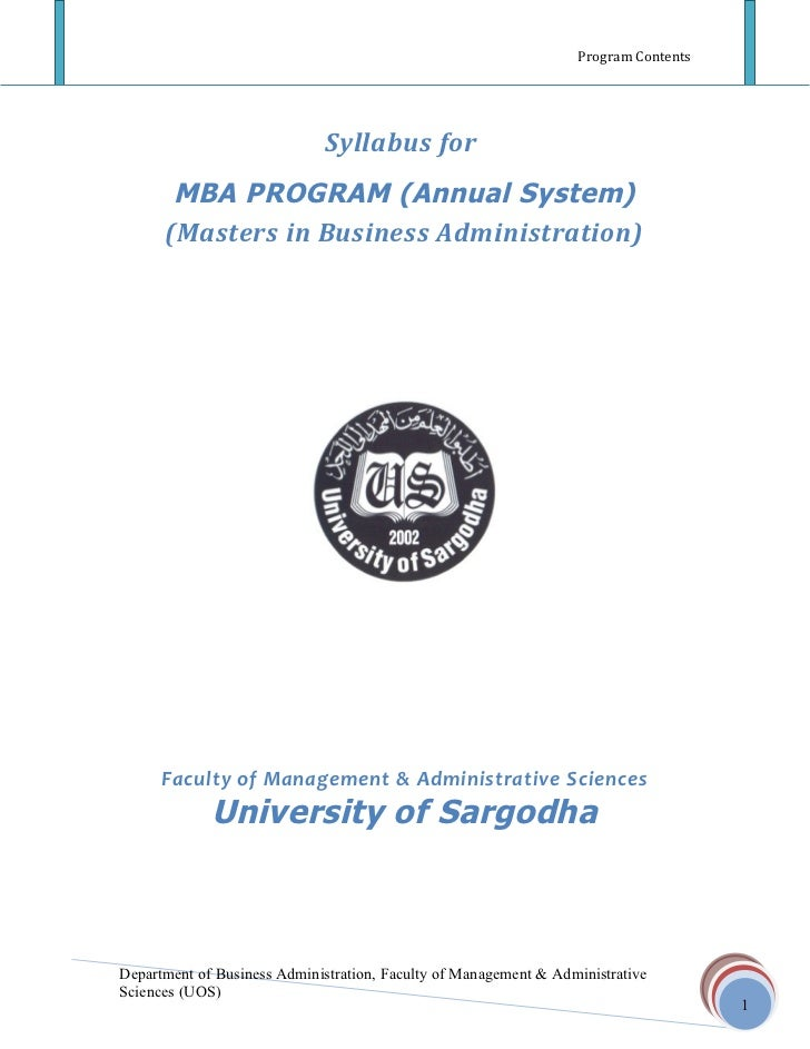 Program Contents                             Syllabus for       MBA PROGRAM (Annual System)      (Masters in Business Admi...