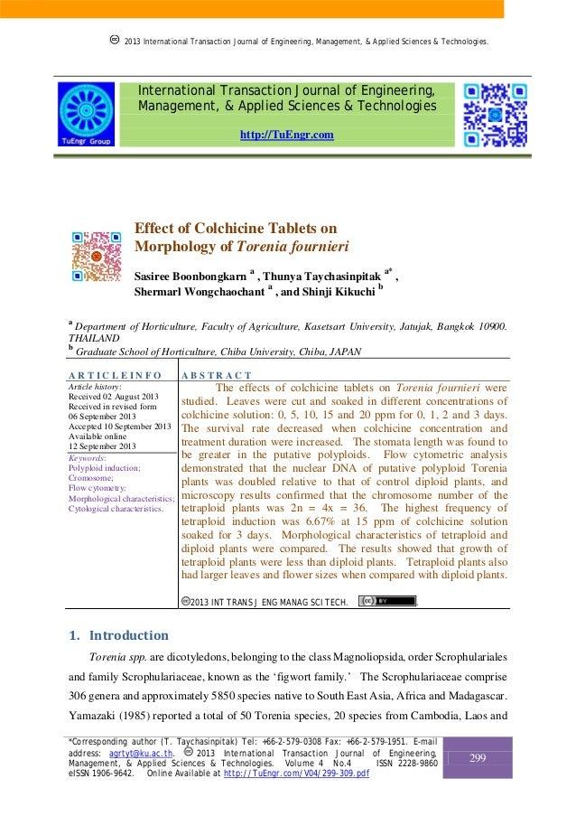 Effect of Colchicine Tablets on Morphology of Torenia fournieri