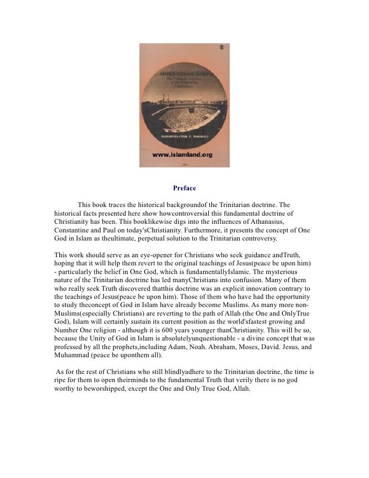 Preface         This book traces the historical backgroundof the Trinitarian doctrine. Thehistorical facts presented here ...