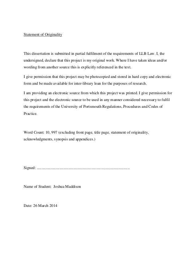 Dissertation Requirements