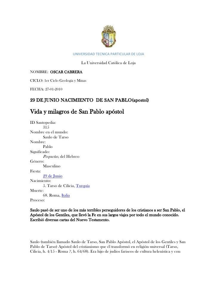 UNIVERSIDAD TECNICA PARTICULAR DE LOJA<br />La Universidad Católica de Loja<br />NOMBRE:  OSCAR CABRERA<br />CICLO: 1er Ci...