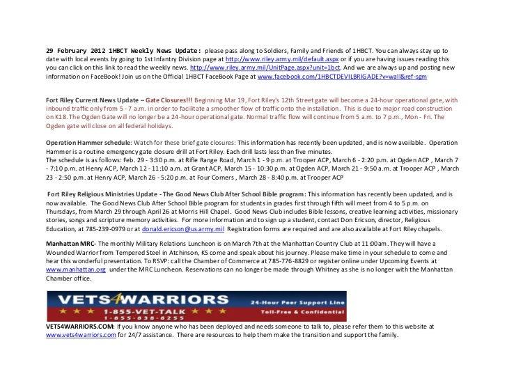 29 February 2012 1HBCT Weekly News Update