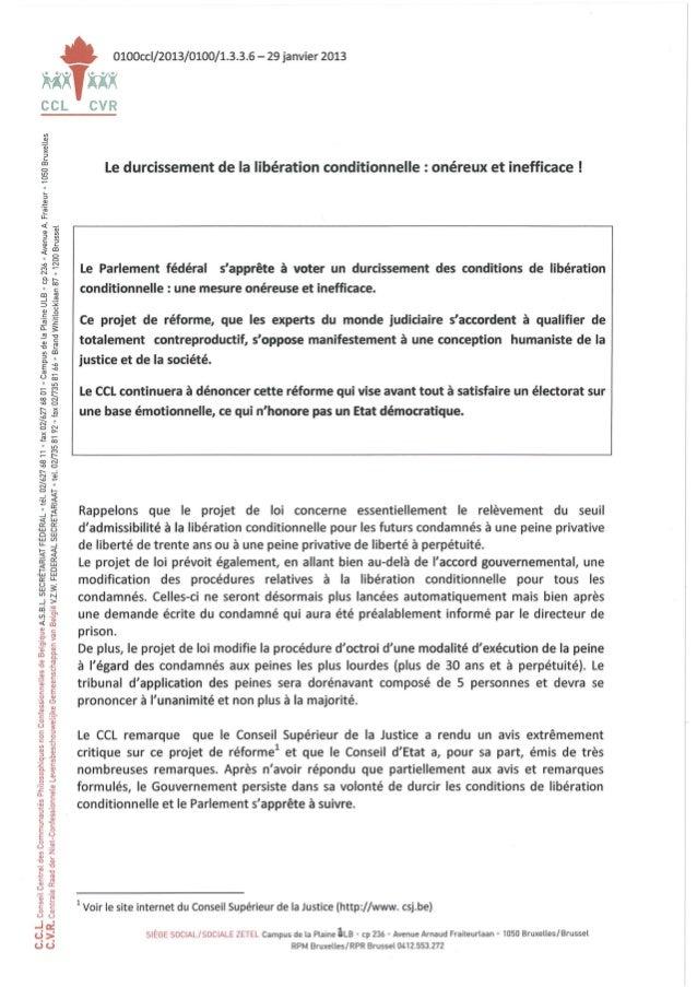 29 janvier 2013 note politique ccl durcissement de la libération conditionnelle