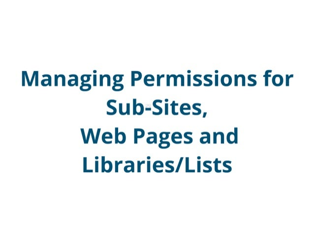 SharePoint Lesson #29: Managing Permissions