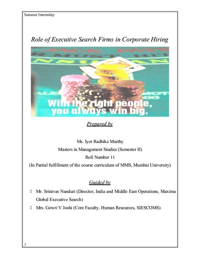 Summer Internship Role of Executive Search Firms in Corporate HiringRole of Executive Search Firms in Corporate Hiring Pre...