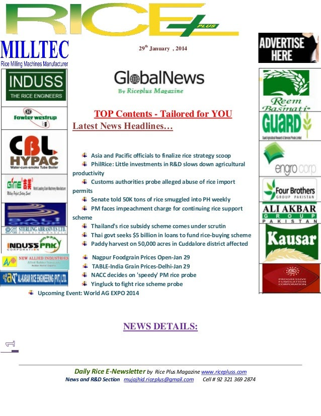 29th january,2014 daily global rice e newsletter by riceplus magazine