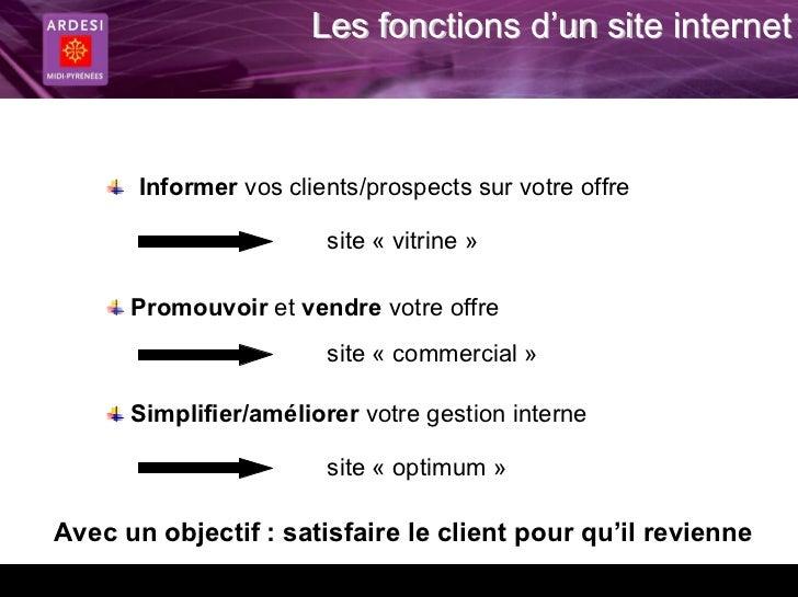 Les fonctions d'un site internet       Informer vos clients/prospects sur votre offre                        site « vitrin...