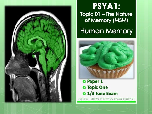  Paper 1   Topic One  1/3 June  Exam  Topic 01 – Nature of Memory (MSM): Lesson 01