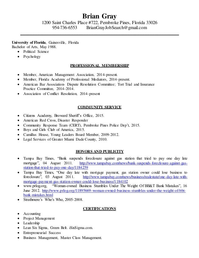 BRIAN GRAY LEGAL RESUME 012515