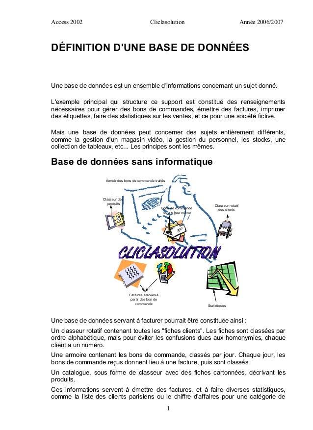 Access 2002                                    Cliclasolution                                       Année 2006/2007DÉFINIT...