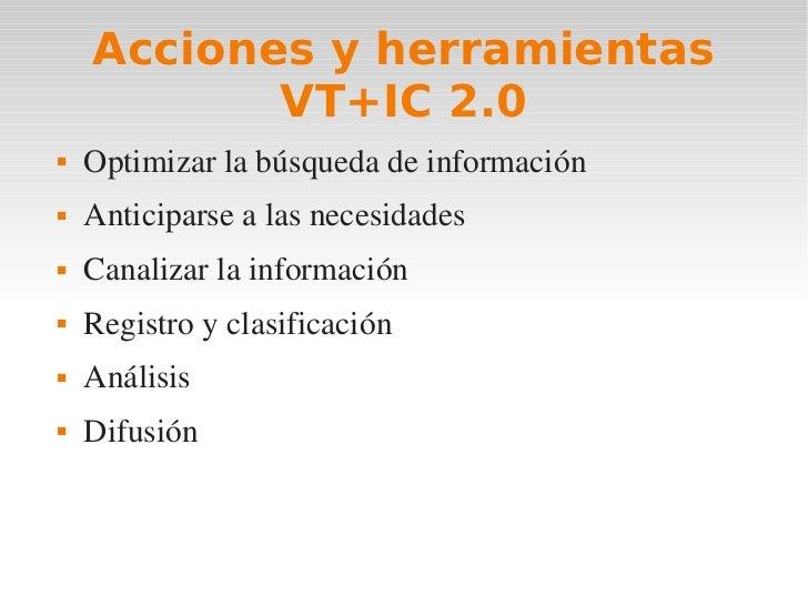 Acciones y herramientas           VT+IC 2.0   Optimizarlabúsquedadeinformación   Anticiparsealasnecesidades   Ca...
