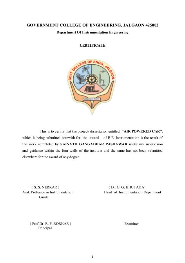 GOVERNMENT COLLEGE OF ENGINEERING, JALGAON 425002 Department Of Instrumentation Engineering CERTIFICATE  This is to certif...