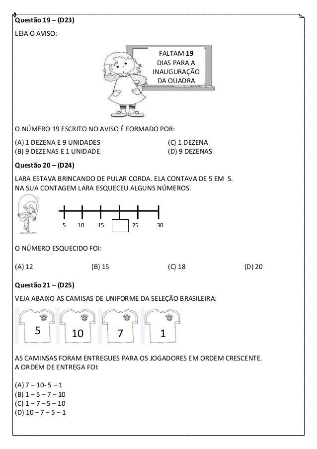 Questão 19 – (D23)LEIA O AVISO:                                               FALTAM 19                                   ...