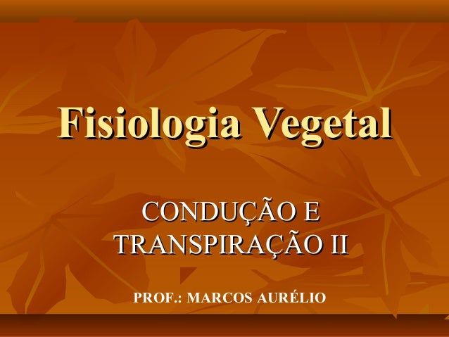Fisiologia Vegetal CONDUÇÃO E TRANSPIRAÇÃO II PROF.: MARCOS AURÉLIO