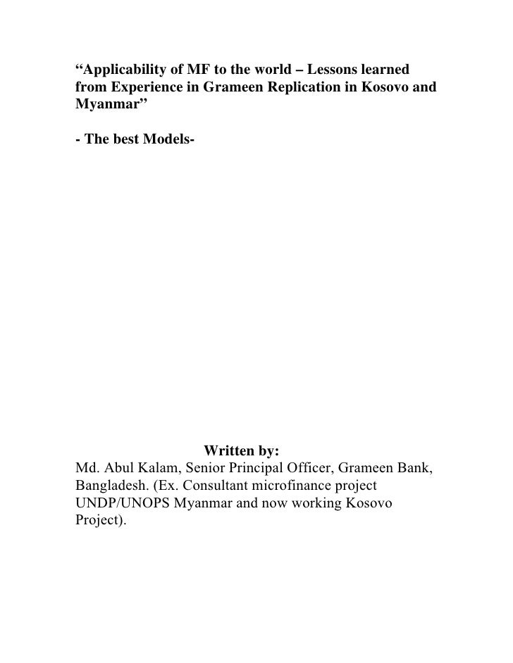"""""""Applicability of MF to the world – Lessons learned from Experience in Grameen Replication in Kosovo and Myanmar""""  - The b..."""