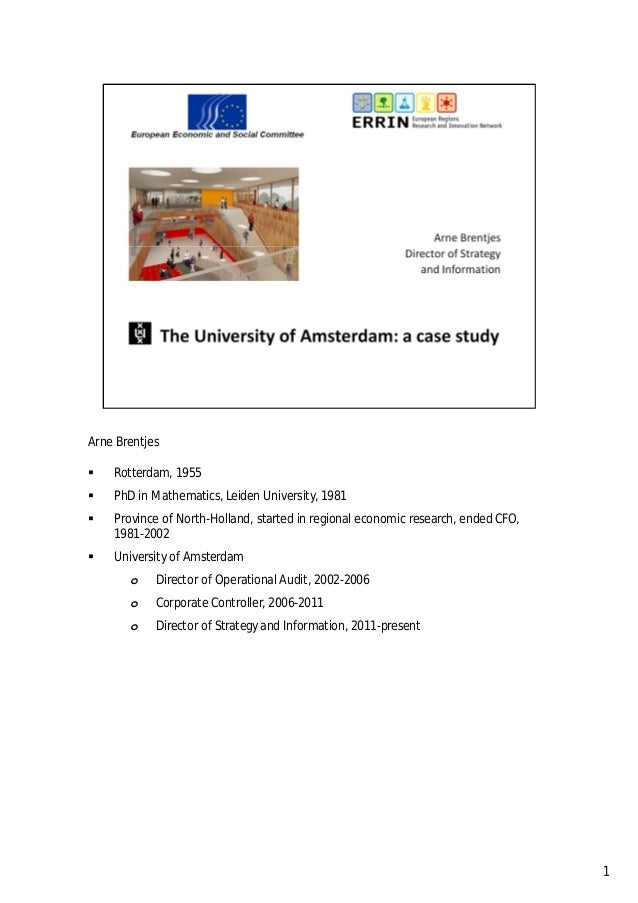 The University of Amsterdam, a case study
