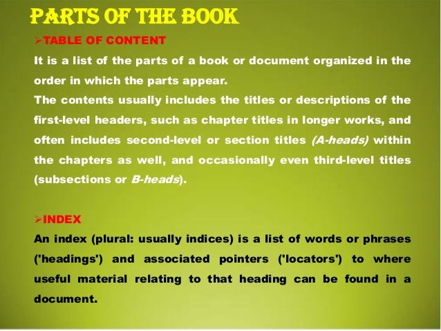 Book Parts Terms Parts of The Book Glossary a