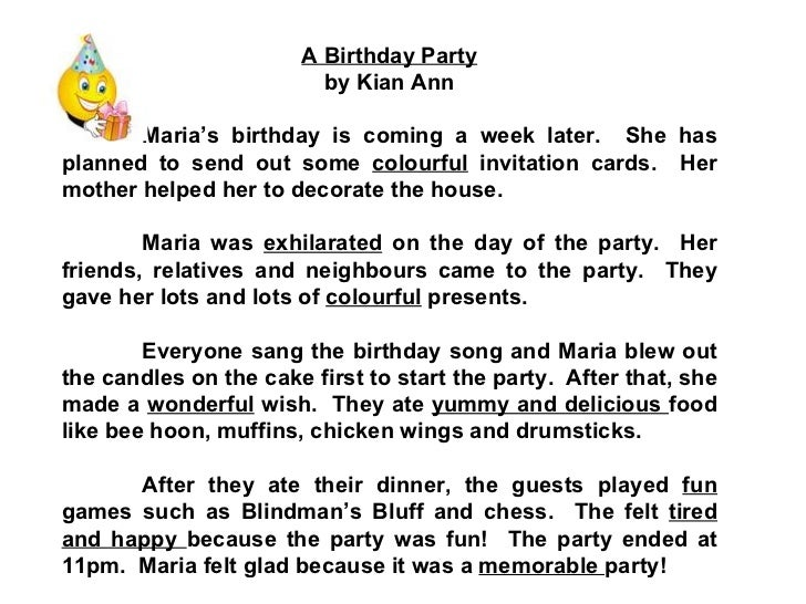 birthday party essay for class 2