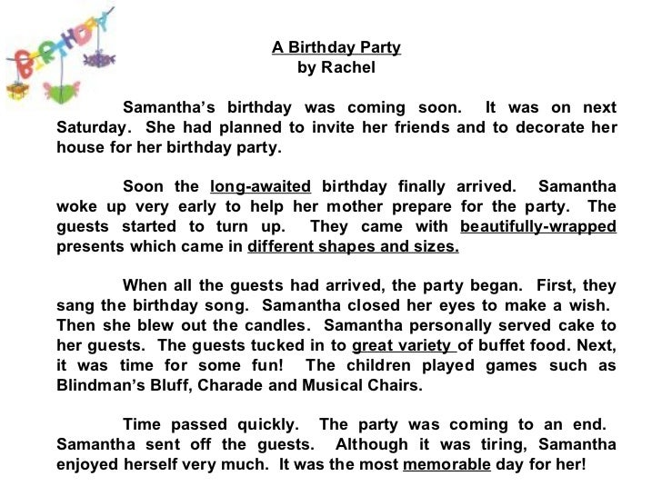 Simple essay on my birthday party