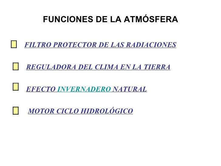 FUNCIONES DE LA ATMÓSFERA MOTOR CICLO HIDROLÓGICO REGULADORA DEL CLIMA EN LA TIERRA EFECTO  INVERNADERO  NATURAL FILTRO PR...