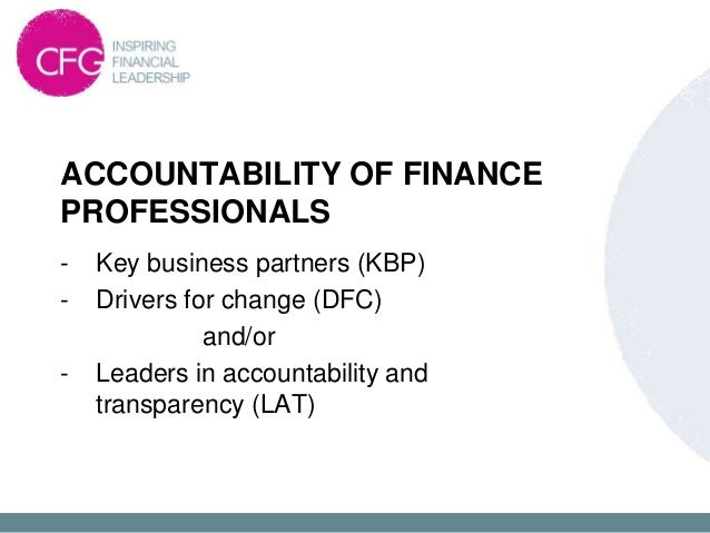 2B –   ACCOUNTABILITY OF FINANCE PROFESSIONALS