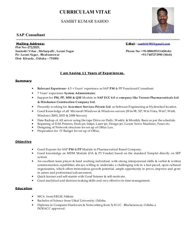 Sap is oil consultant resume