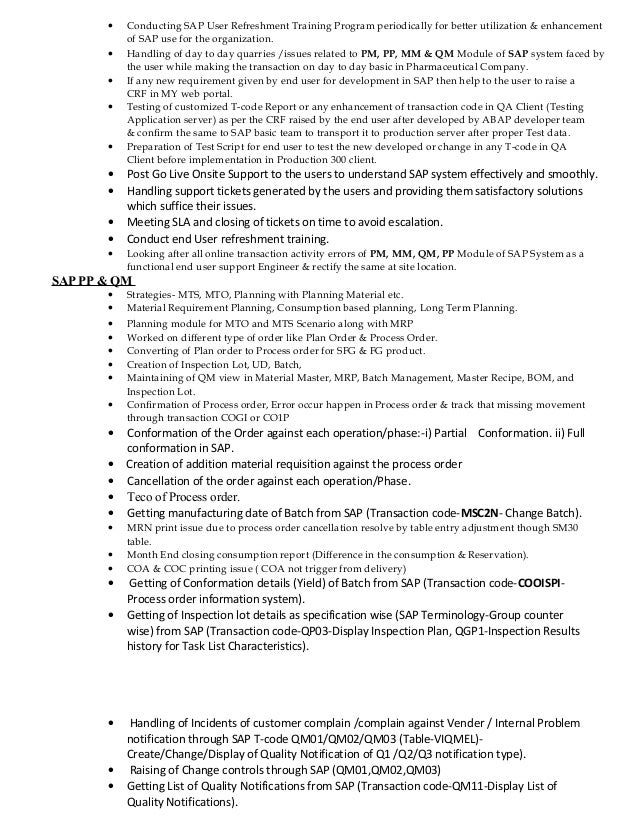 Resume for sap pm at alabama