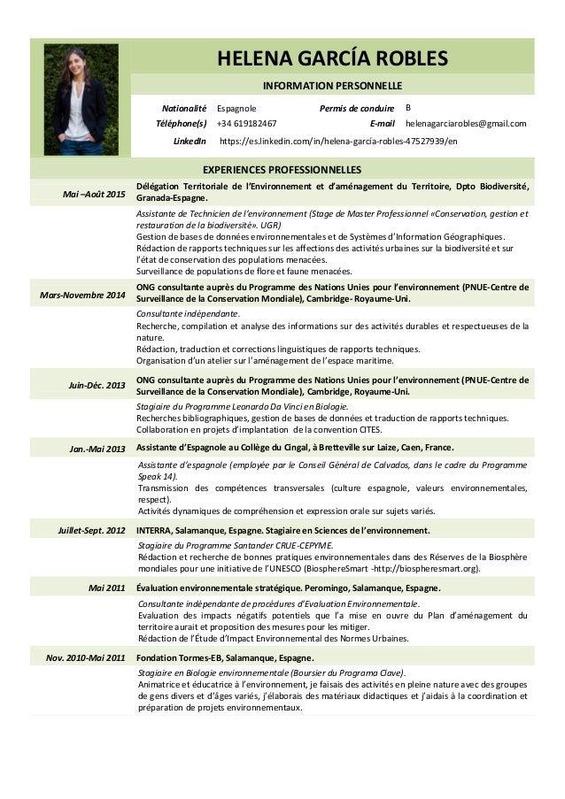 HELENA GARCÍA ROBLES INFORMATION PERSONNELLE Nationalité Espagnole Permis de conduire B Téléphone(s) +34 619182467 E-mail ...