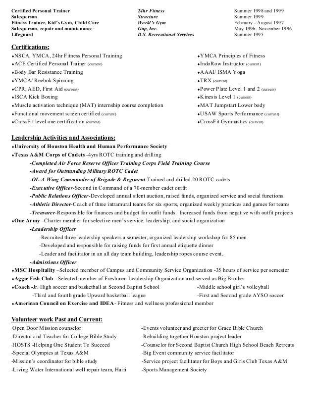 Sample Resume For Zumba Instructor