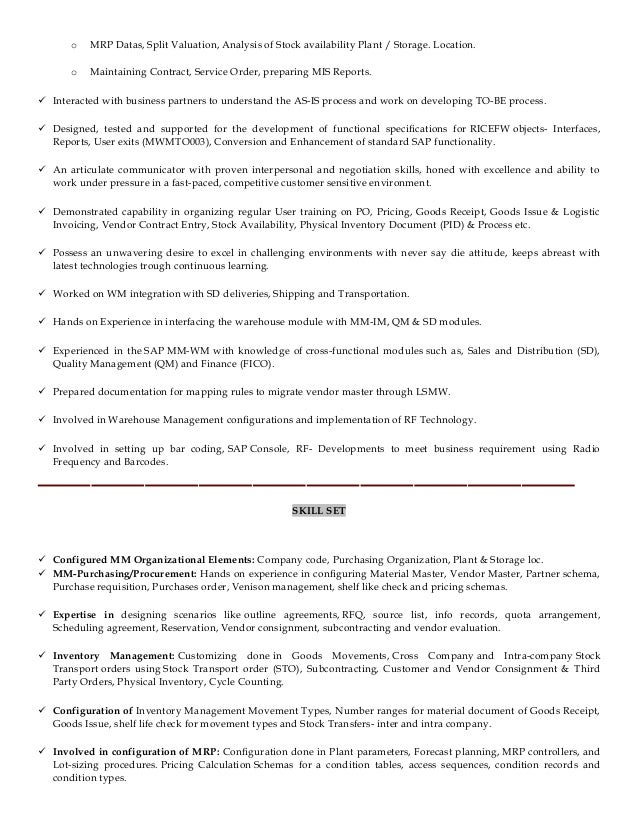 sap sd resume with years experience free sle resume