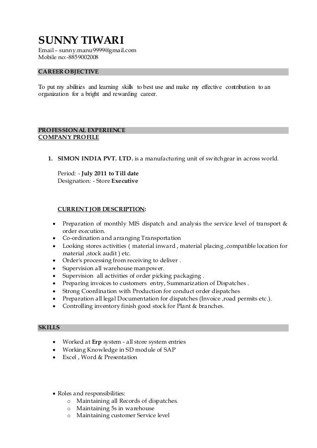 Store Keeper Resume Latest Resume Sample 8970164 Ejobnet Info